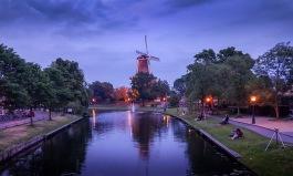 Molino en Leiden, foto nocturna